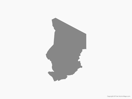 Free Vector Map of Chad - Single Color