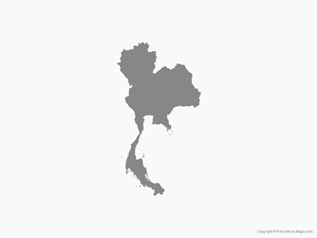 Free Vector Map of Thailand - Single Color