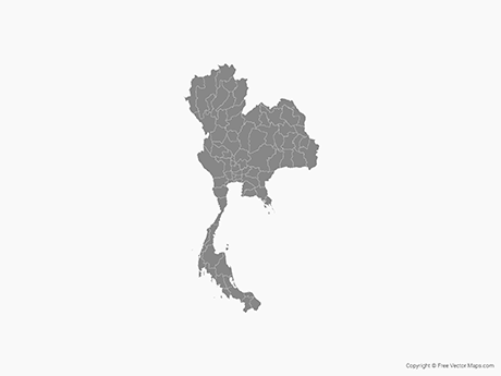 Free Vector Map of Thailand with Provinces - Single Color