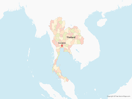 Free Vector Map of Thailand with Provinces - Multicolor