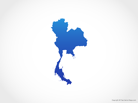 Free Vector Map of Thailand - Blue