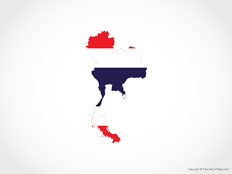 Free Vector Map of Thailand - Flag