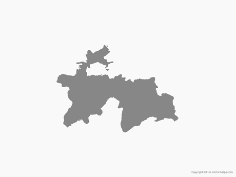Free Vector Map of Tajikistan - Single Color