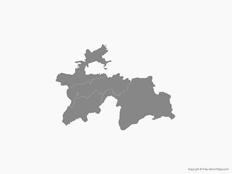 Free Vector Map of Tajikistan with Regions - Single Color