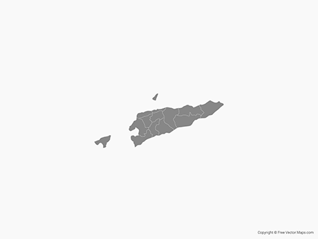 Free Vector Map of East Timor with Municipalities - Single Color