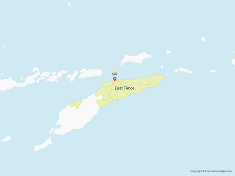 Free Vector Map of East Timor with Municipalities