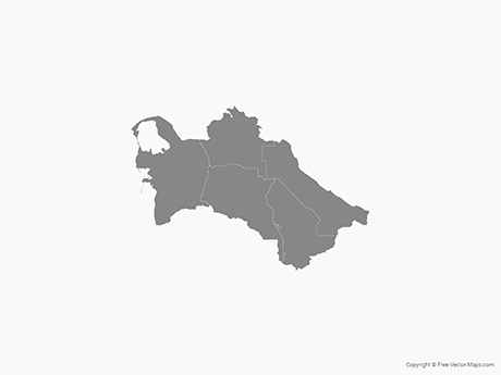 Free Vector Map of Turkmenistan with Districts - Single Color