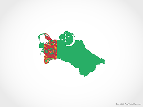 Free Vector Map of Turkmenistan - Flag