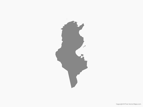 Map of Tunisia - Single Color