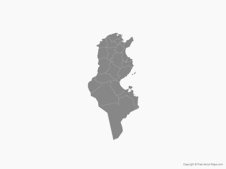 Free Vector Map of Tunisia with Governorates - Single Color