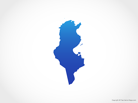 Free Vector Map of Tunisia - Blue