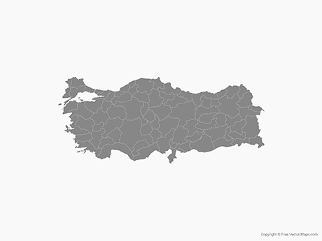 Free Vector Map of Turkey with Provinces - Single Color