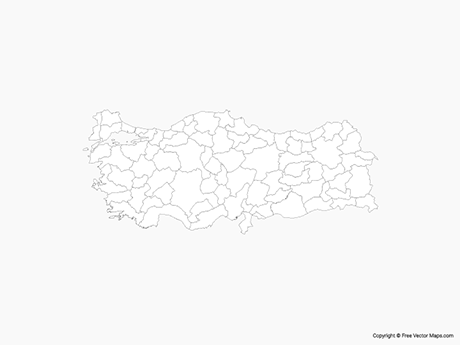 Free Vector Map of Turkey with Provinces - Outline