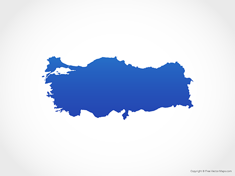 Free Vector Map of Turkey - Blue