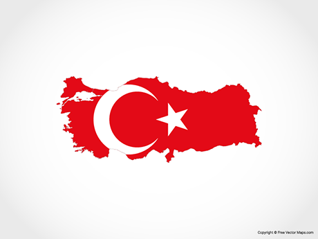 Free Vector Map of Turkey - Flag