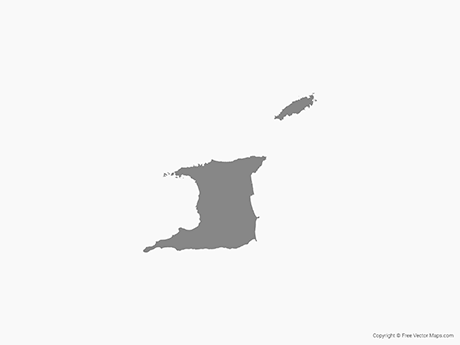 Free Vector Map of Trinidad and Tobago - Single Color