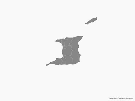 Free Vector Map of Trinidad and Tobago with Regions - Single Color
