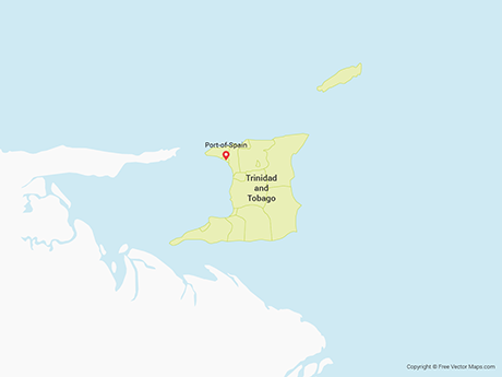 Free Vector Map of Trinidad and Tobago with Regions