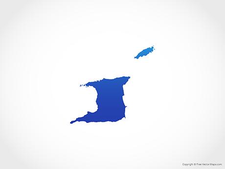 Free Vector Map of Trinidad and Tobago - Blue