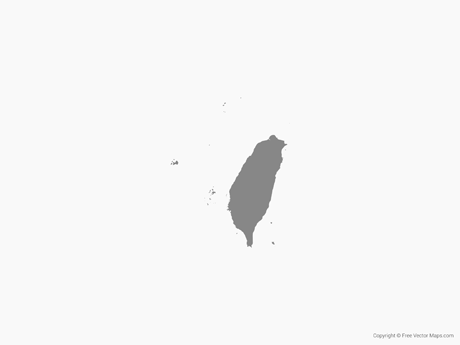 Free Vector Map of Taiwan - Single Color