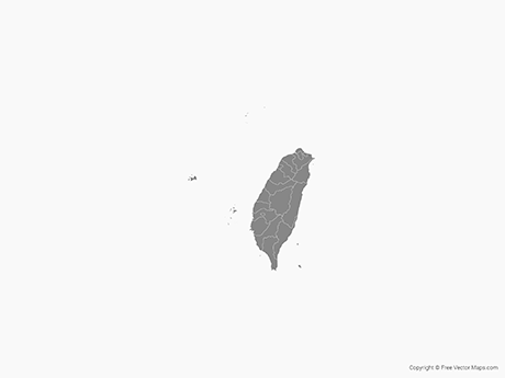 Free Vector Map of Taiwan with Counties - Single Color