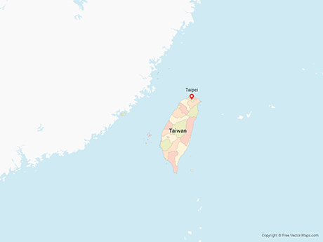 Free Vector Map of Taiwan with Counties - Multicolor