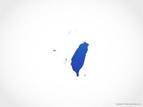 Free Vector Map of Taiwan - Blue