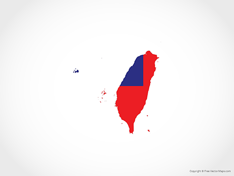 Free Vector Map of Taiwan - Flag