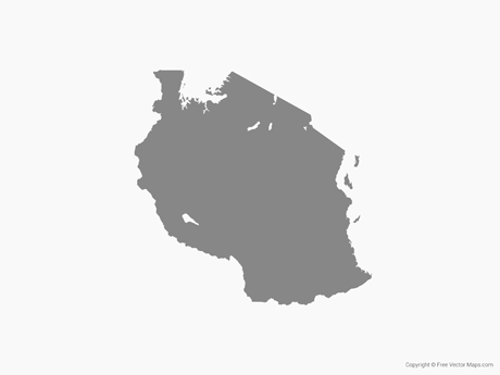 Free Vector Map of Tanzania - Single Color