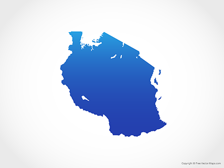Free Vector Map of Tanzania - Blue