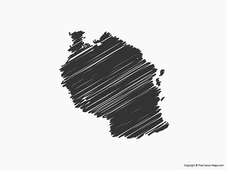 Free Vector Map of Tanzania - Sketch