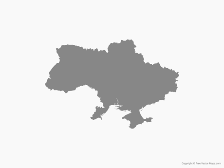 Free Vector Map of Ukraine - Single Color