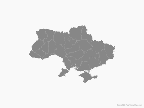 Free Vector Map of Ukraine witrh Regions - Single Color