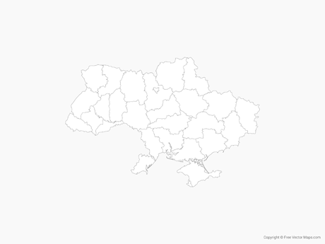 Free Vector Map of Ukraine with Regions - Outline