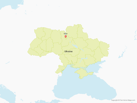 Free Vector Map of Ukraine with Regions