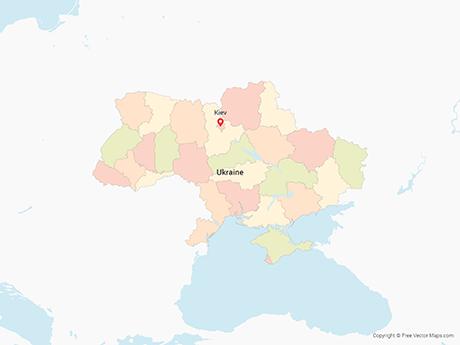 Map of Ukraine with Regions - Multicolor