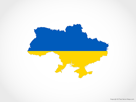 Free Vector Map of Ukraine - Flag