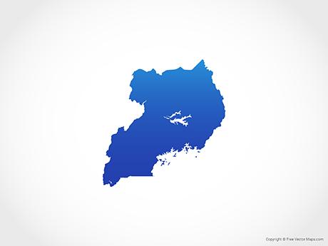 Free Vector Map of Uganda - Blue
