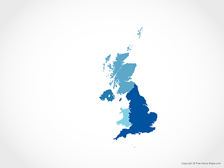 Free Vector Map of United Kingdom with Countries - Blue