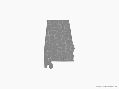 Map of Alabama with Counties - Single Color