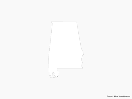 Map of Alabama - Outline