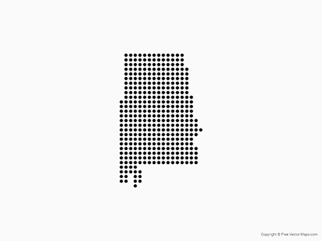 Free Vector Map of Alabama - Dots