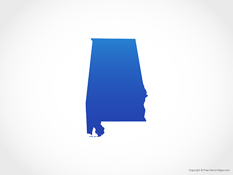 Free Vector Map of Alabama - Blue