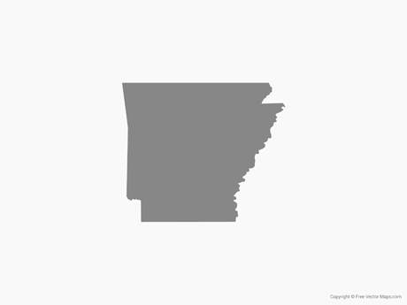 Free Vector Map of Arkansas - Single Color
