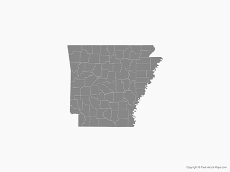 Free Vector Map of Arkansas with Counties - Single Color