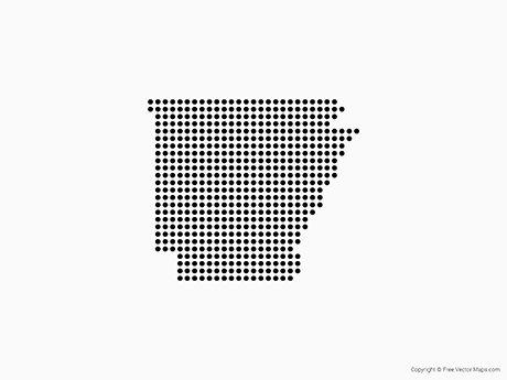 Free Vector Map of Arkansas - Dots