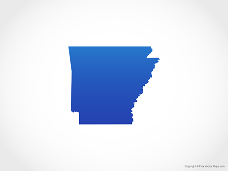 Free Vector Map of Arkansas - Blue