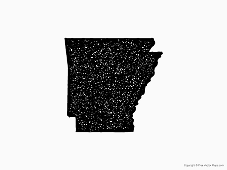 Free Vector Map of Arkansas - Stamp