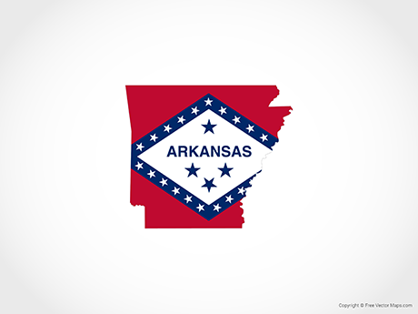 Free Vector Map of Arkansas - Flag