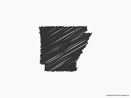 Free Vector Map of Arkansas - Sketch